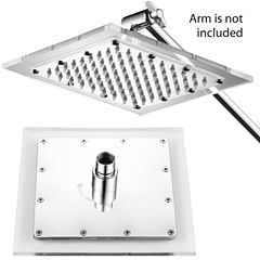HotelSpa® Square Stainless Steel 8-inch RainfallShower Head with Clear Acrylic Rim without Arm