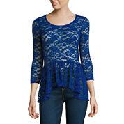 Decree® 3.4 Sleeve Lace Peplum Top - Juniors