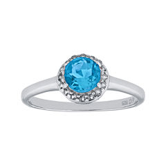 Faceted Genuine Blue & White Topaz Sterling Silver Ring