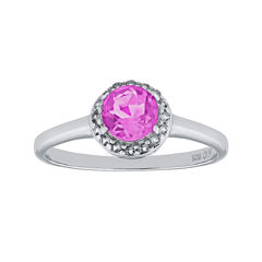Faceted Lab-Created Pink Sapphire & White Topaz Sterling Silver Ring