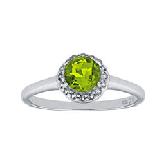 Faceted Genuine Peridot & White Topaz Sterling Silver Ring