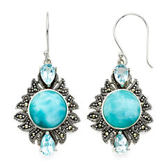 Genuine Larimar and Marcasite Sterling Silver Drop Earrings