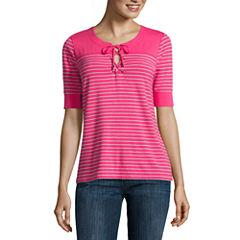 Liz Claiborne Elbow Sleeve Scoop Neck T-Shirt