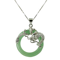Green Jade Circle & Dragon Pendant Necklace