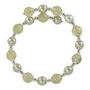 Gray Cultured Freshwater Pearl & Green Prehnite Bracelet