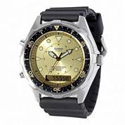 Casio® Mens Champagne Dial Black Resin Strap Analog/Digital Watch AMW320D-9EV