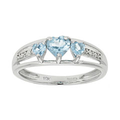 Lab-Created Aquamarine & Diamond-Accent Heart-Shaped 3-Stone 10K White Gold Ring
