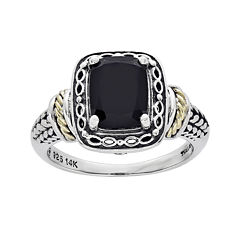 Shey Couture Genuine Onyx and Sterling Silver and 14K Gold Ring