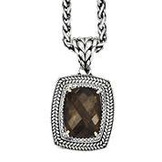 Shey Couture Smoky Quartz Two-Tone Antiqued Pendant Necklace