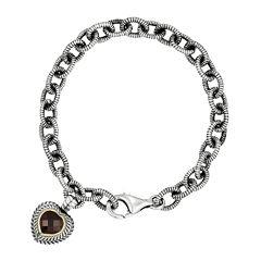 Shey Couture Genuine Garnet Sterling Silver Heart Link Bracelet