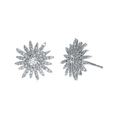 3/4 CT. T.W. Diamond 14K White Gold Starburst Stud Earrings