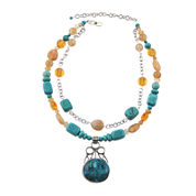 Art Smith by BARSE Multi-Stone Two-Tone Pendant Necklace