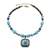 Art Smith by BARSE Tiger's Eye and Howlite Brass Pendant Necklace