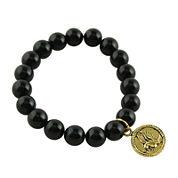Art Smith by BARSE Genuine Onyx Brass Charm Stretch Bead Bracelet