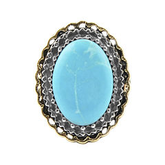 Art Smith by BARSE Blue Howlite Oval Two-Tone Silver Over Bronze Statement Ring