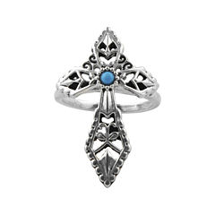 Art Smith by BARSE Genuine Turquoise Silver Over Brass Cross Ring