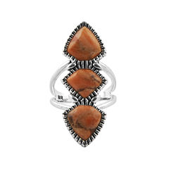 Art Smith by BARSE  Orange Sponge Coral Silver Over Brass Statement Ring