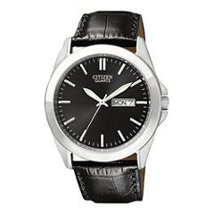 Citizen® Mens Black Dial Black Leather Strap Watch BF0580-06E