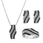1/10 CT. T.W. White and Color-Enhanced Black Diamond 3-pc. Jewelry Set