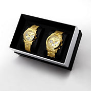 JBW Delano&Alessandra 1/2 Ct. T.W. Diamond Accent Unisex Gold Tone 2-pc. Watch Boxed Set-Jb6218ejb6217e