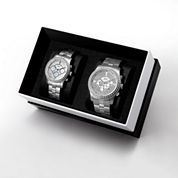JBW Vanquish&Vixen 1/8 Ct. T.W. Diamond Accent Unisex Silver Tone 2-pc. Watch Boxed Set-J6337cj6327a