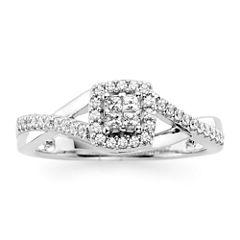1/10 CT. T.W. Diamond 10K White Gold Princess-Cut Quad Promise Ring
