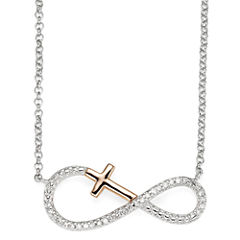 Infinite Promise 1/0 CT. T.W. Diamond Cross Infinity Symbol Necklace