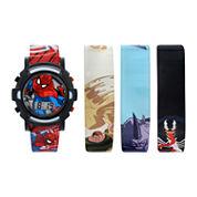 Kids Spiderman 4 pc Interchangeable Strap Watch Set