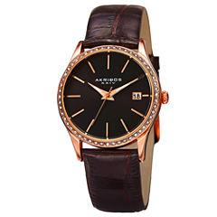 Akribos XXIV Womens Brown Strap Watch-A-883bkr