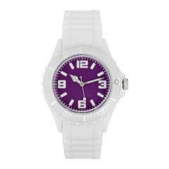 Womens Accutime White/Purple Strap Watch