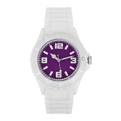 Womens Accutime White/Purple Strap Watch