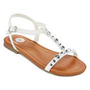 Total Girl® Jewel Girls Strap Sandals - Little Kids
