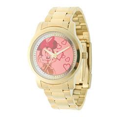 Disney Minnie Mouse Womens Gold Tone Strap Watch-W001825