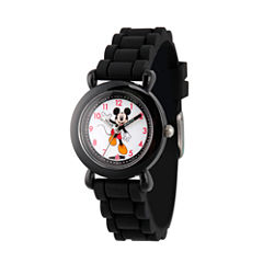 Disney Mickey Mouse Boys Black Strap Watch-Wds000011