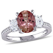 Womens Pink Tourmaline 14K Gold Engagement Ring