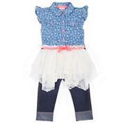 Little Lass Girls 2-Pc Denim To Lace Sharkbite Legging Set