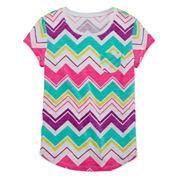 Arizona Short-Sleeve Fave Stripe Tee - Girls 7-16 and Plus