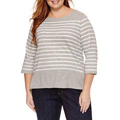 Liz Claiborne 3/4 Sleeve Boat Neck T-Shirt-Plus
