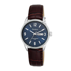 Armitron® All-Sport® Mens Blue Dial Brown Leather Strap Watch