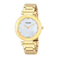 Pulsar® Womens Crystal-Accent Gold-Tone Stainless Steel Bracelet Watch PM2080