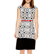 Tiana B. Cap-Sleeve Belted Print Fit-and-Flare Dress