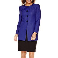 R&K Originals® Pleat-Neck Jacquard Jacket and Skirt Suit - Petite