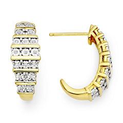 1/10 CT. T.W. Diamond 14K Yellow Gold Over Sterling Silver Hoop Earrings