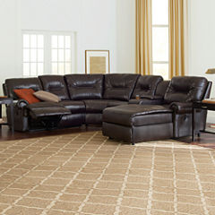 Brinkley 5-pc. Faux-Leather Reclining Chaise Motion Sectional