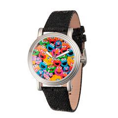 Sesame Street Womens Black Strap Watch-Wss000001