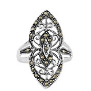 Sparkle Allure Gray Marcasite Stackable Ring