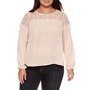 Boutique + Long Sleeve Scoop Neck Georgette Blouse-Plus
