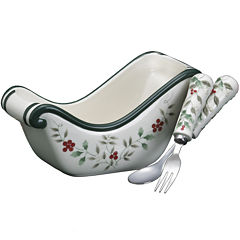 Pfaltzgraff® Winterberry Sled-Shaped Condiments Dish with Fork and Spoon