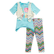 Young Land 3-pc. Legging Set-Preschool Girls
