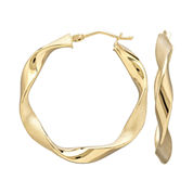 Infinite Gold™ 14K Yellow Gold Wavy Hoop Earrings